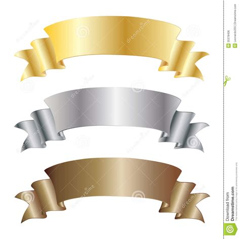 Sponsorship Letter Gold Silver Bronze set of gold silver and bronze ribbons royalty free stock