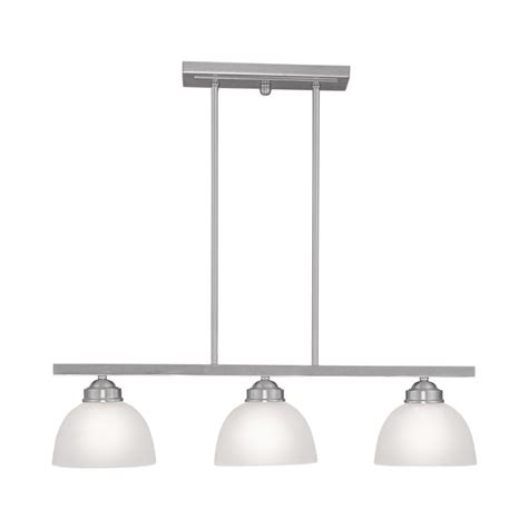 Brushed Nickel Kitchen Island Lighting Shop Livex Lighting Somerset 28 In W 3 Light Brushed Nickel Kitchen Island Light With White