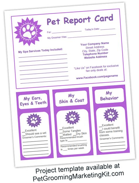 free printable pet report card template free pet report card template