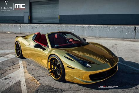 gold ferrari gold ferrari 458 spider with vellano forged wheels gtspirit