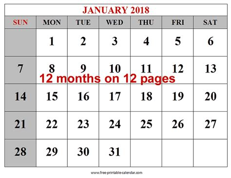 printable calendar 2018 large free printable 2018 calendars download free 2018 12