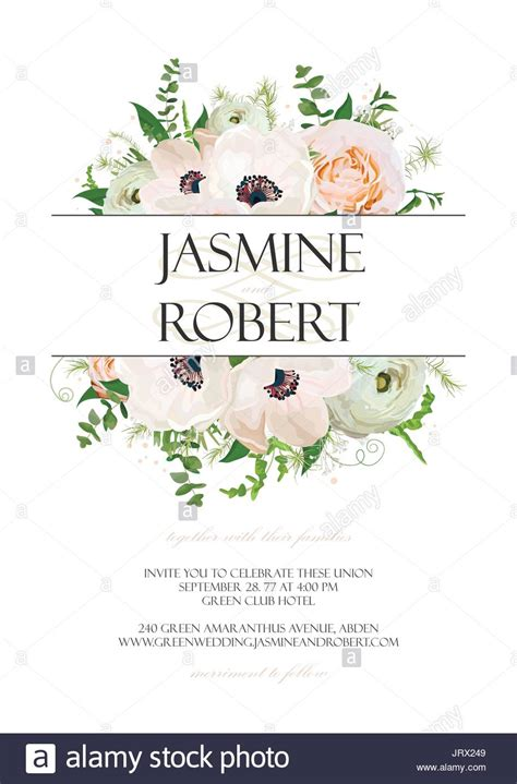 wedding invite postcard style wedding invitation invite card design with anemone