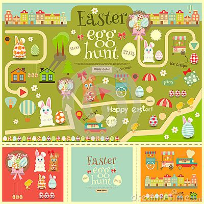 easter egg hunt map template easter egg hunt stock vector image 64831554