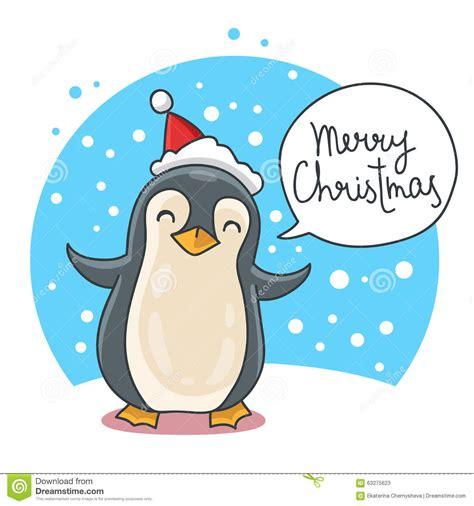 cute  funny christmas penguin stock vector illustration  snowflakes congratulations