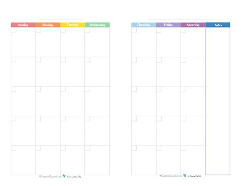 blank page month calendar size rainbow