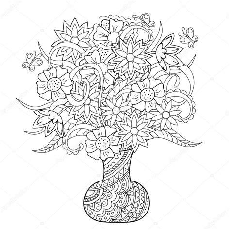 fiori con z vaso con fiori e farfalle vettoriali stock 169 sliplee