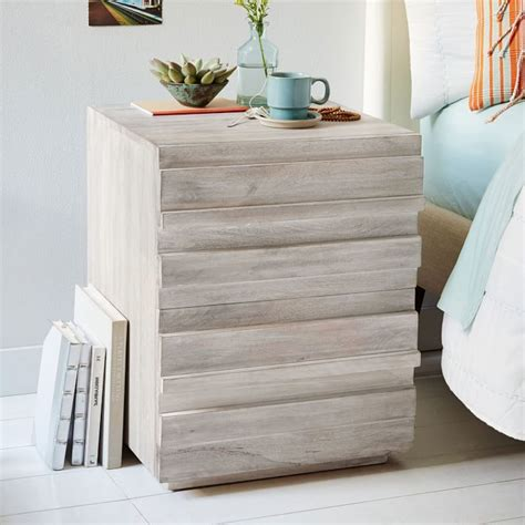 west elm stria bed west elm stria nightstand in cerused white on shopstyle