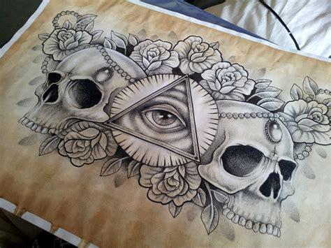 chest piece tattoo designs illuminati and skull chest design by