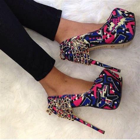Pattern Colorful Heels | shoes tribal high heels colorful high heels heels