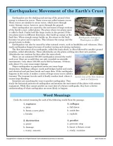 earthquakes 7th grade reading comprehension worksheet