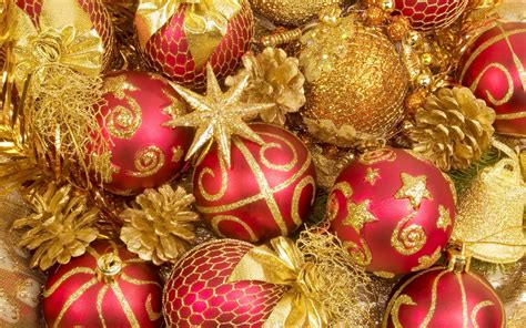holiday decorations ornaments and decorations in red and gold full hd