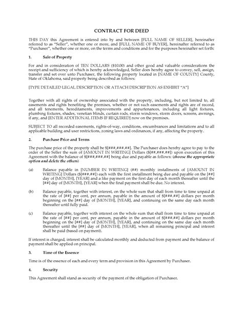 Oklahoma Contract For Deed Form Legal Forms And Business Templates Megadox Com Contract For Deed Template