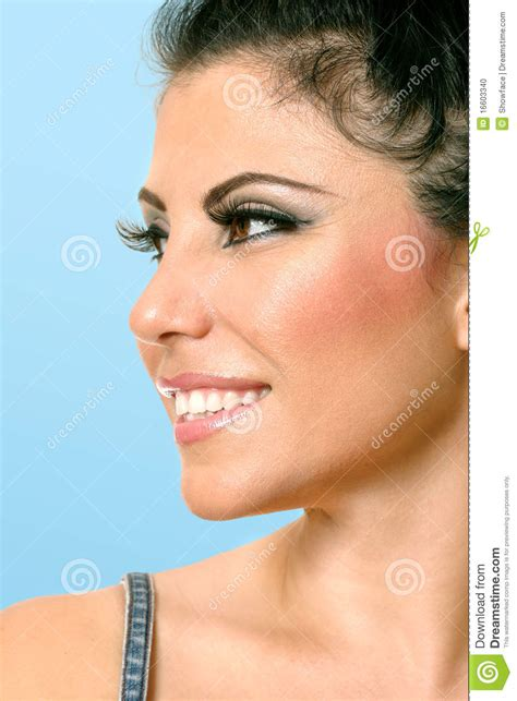 hair i s chin sideways beautiful woman face looking sideways stock photo image
