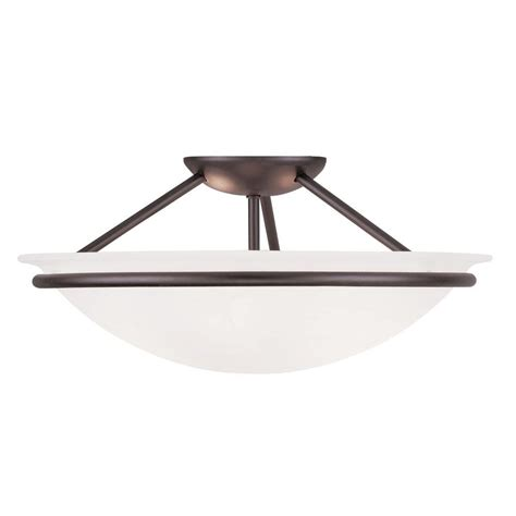 Livex Lighting Providence 3 Light Ceiling Bronze 3 Light Semi Flush Mount Ceiling Fixture