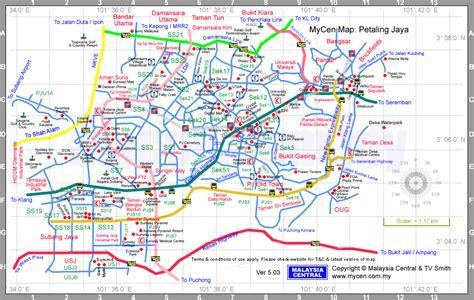 petaling jaya map selangor malaysia map