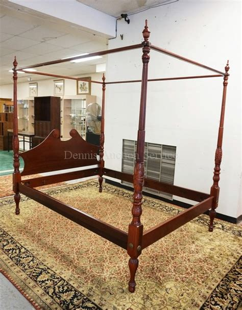High Post Bed Frame Carved Mahogany High Poster Bed With Canopy Frame Top