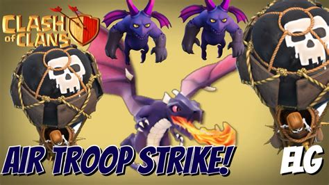 Kaos Coc Baloonion Minion all air troops attack strategy gameplay balloons dragons minions max dat 31 clash of