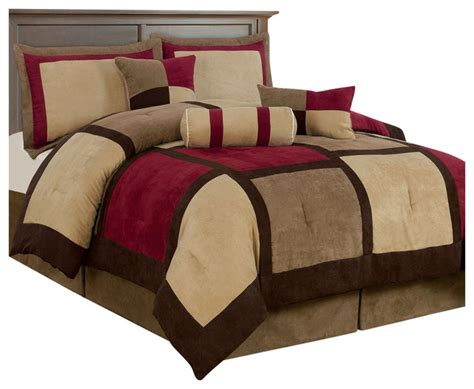 red and brown comforter set king size 7 piece bed bag patchwork comforter set in brown