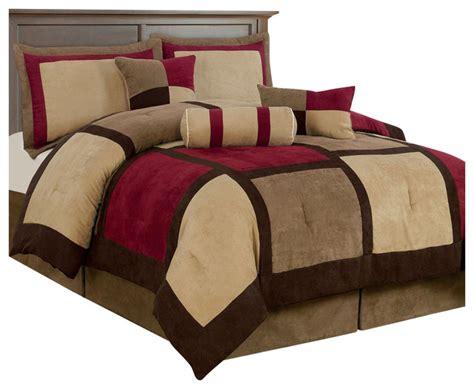 burgundy comforter sets king size king size 7 piece bed bag patchwork comforter set in brown