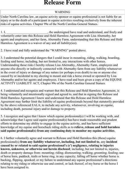 equine release form free carolina liability release form 2 pdf
