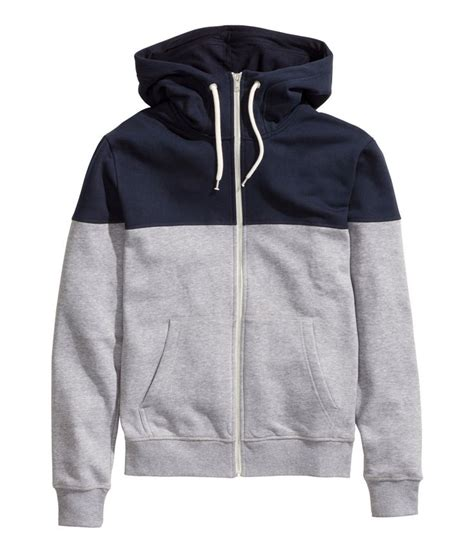 Hoodie H M By Imbong gray hoodie with contrasting blue yoke lined drawstring