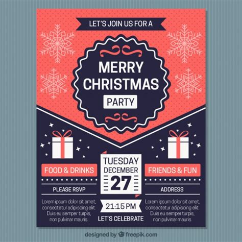 Vintage Merry Christmas Brochure Template Vector Free Download Merry Flyer Template Free