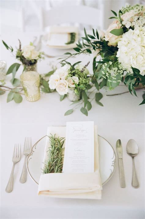 Ivory and sage green wedding. Rosemary napkins and farm