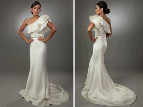 diy hairstyles for one shoulder dresses sleek one shoulder ivory wedding dress with ruffle detail