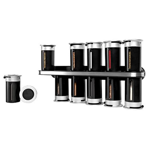 Magnetic Spice Rack Target zevro zero gravity wall mount 12 canister magnetic spice rack plastic and steel black target