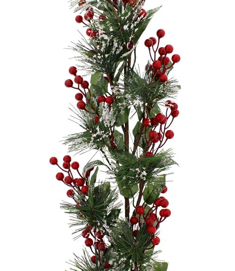 natural green christmas garland decoration red berries