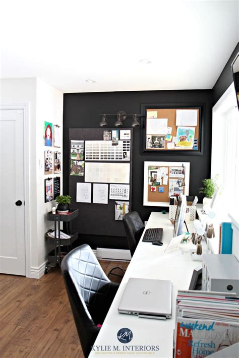 home office decorating ideas  kylie  interiors corkboards  tricorn black feature  accent