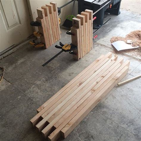 making a wood bench a glue up of a simple box joint 2x4 bench advertised as a