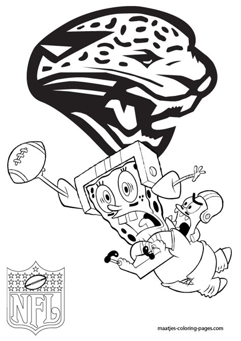spongebob nfl coloring pages jacksonville jaguars patrick and spongebob coloring pages