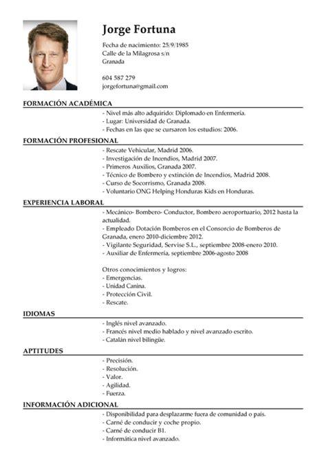 Modelo De Curriculum Vitae Para Vigilante De Seguridad Modelos De Curr 237 Culum V 237 Tae Y Cartas De Presentaci 243 N