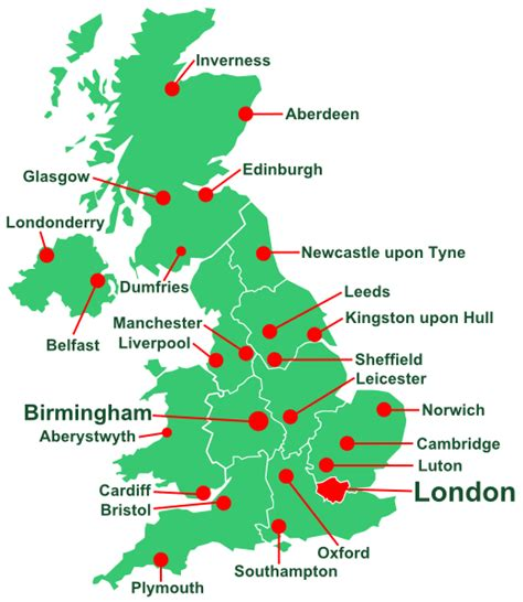 map of the united kingdom with major cities study in uk scorp