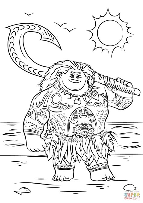 printable coloring pages moana maui from moana coloring page free printable coloring pages