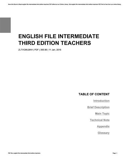 English file intermediate third edition teachers by
