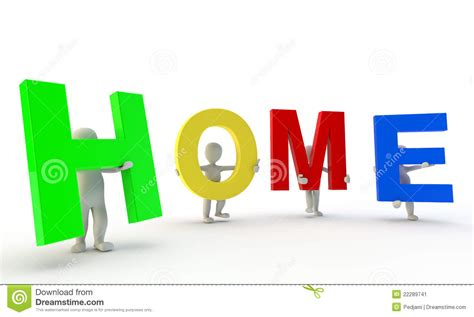 in house synonym 3d humans forming colorfull home word stock image image 22289741