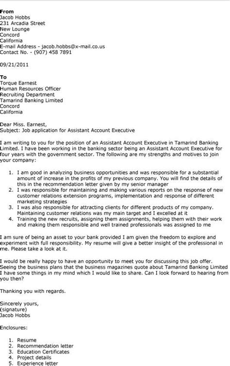 account executive cover letter exles sle application letter for account executive position
