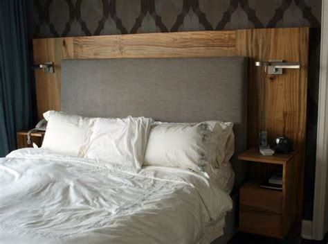 Fabric And Wood Headboards by Fabric Wood Built In Nightstands Lighting