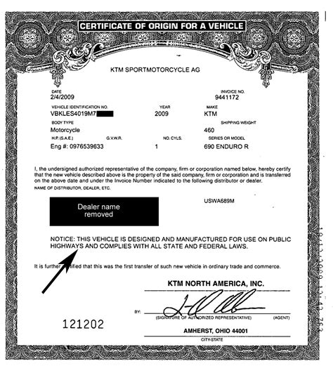 certificate of origin for a vehicle template more about on road motorcycles licensing express