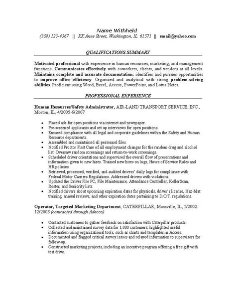 resume exles for safety professionals human resources resume exle sle resumes for