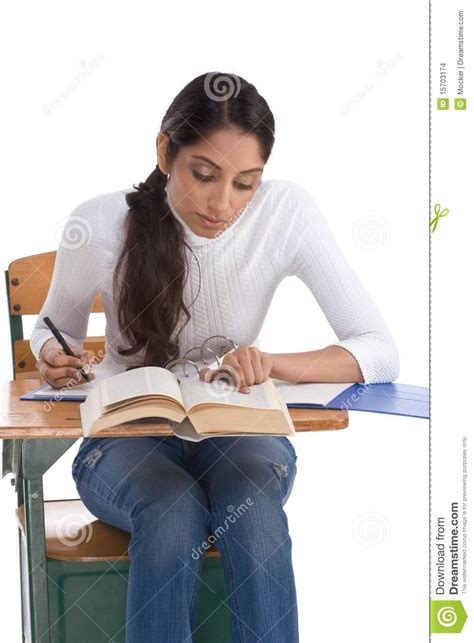 Ethnic Indian College Student By Desk In Class Stock Photo Desk For College Students