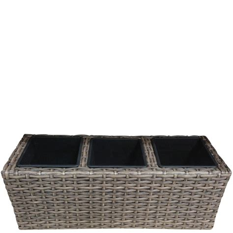 eurodesign 47 x 17 x 18cm poly rattan tri planter pot