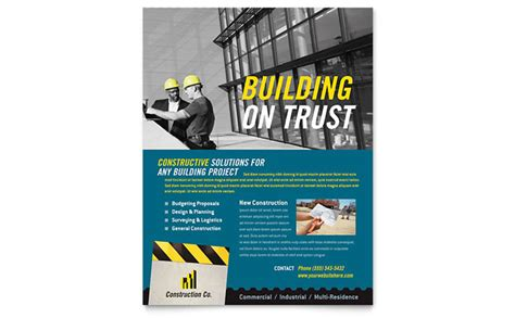 industrial commercial construction flyer template design