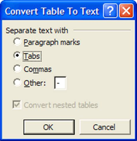 Convert Table To Text by Working With Tables