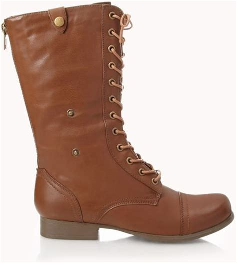 combat boots for forever 21 forever 21 foldover combat boots in brown lyst