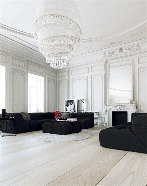 living lounge scandinavian parisian apartments in white
