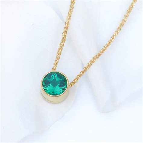 Birthstone Jewelry by Emerald Necklace In 18ct Gold May Birthstone By Lilia
