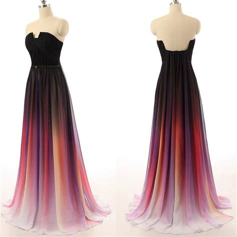 Blue Gradient Dress ombre prom dresses 2017 new simple navy blue gradient chiffon skirt bridesmaid dress for